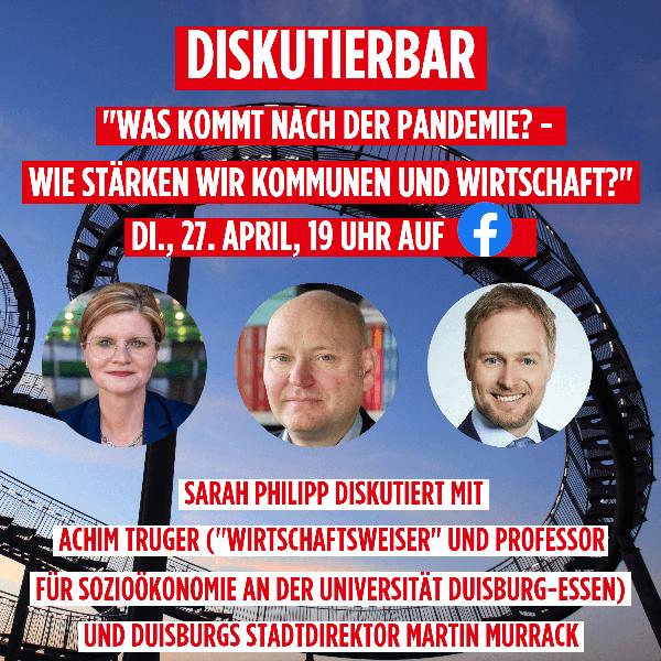 DiskutierBar Sarah Philipp mit Achim Truger und Martin Murrack